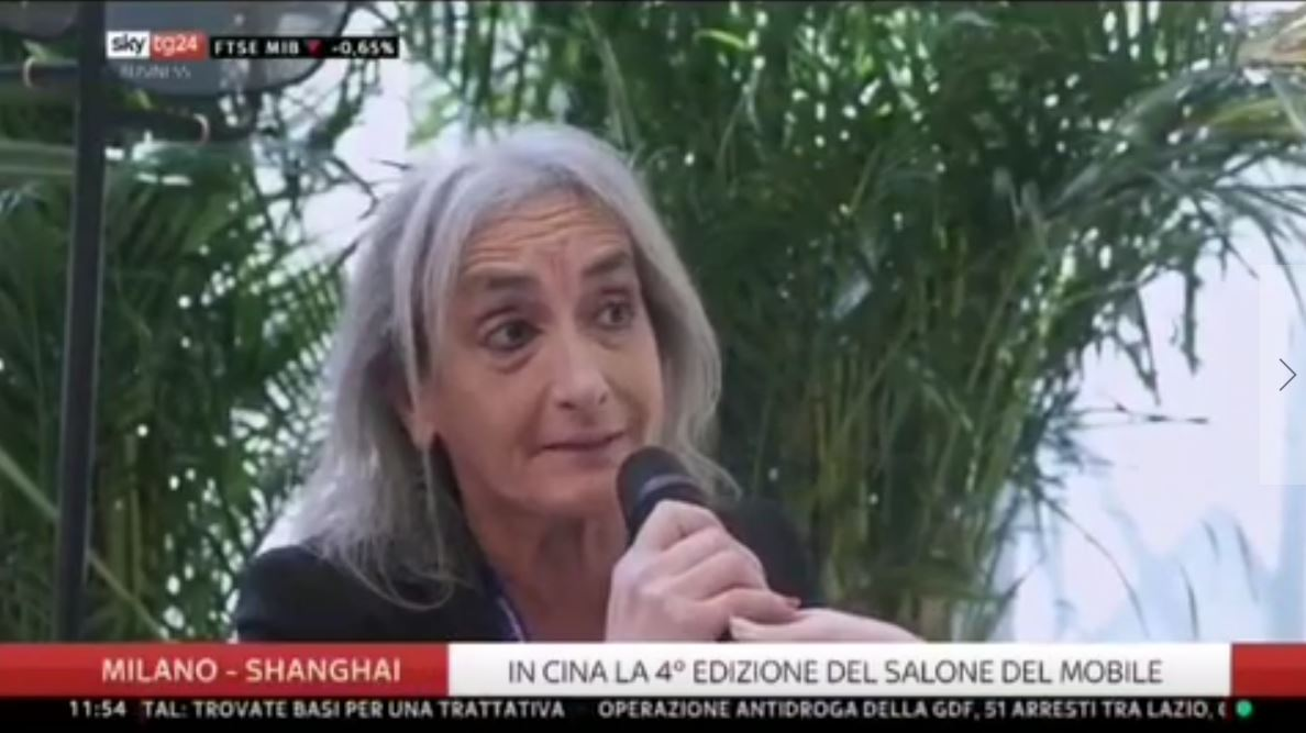 ‬Cristiana Barbatelli on Sky TG 24 during Salone del Mobile Milano Shanghai